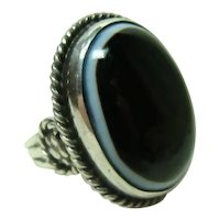 Vintage Large Bulls Eye Banded Agate Ring