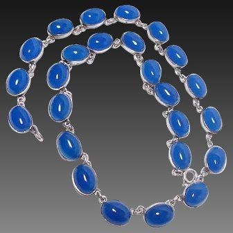 Vintage Blue Chalcedony Collar Necklace