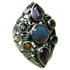 Multi Gemstone Arts and Crafts Ring