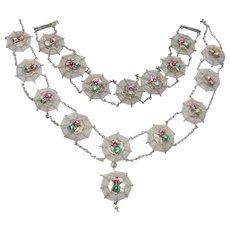 Vintage Enameled Chinese Spider Necklace and Bracelet Set