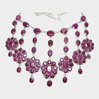 Huge Ruby Dangle Necklace