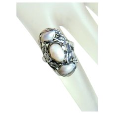 Gorgeous Antique Arts and Crafts Pearl Ring