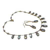 Vintage Set 14kt/10kt Gold Moonstone Necklace and Earrings