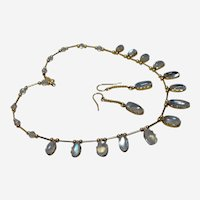 Vintage Set 14kt/10kt Gold Moonstone Necklace and Earrings
