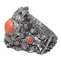 Vintage Large Silver and Coral Bracelet