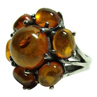 Vintage Large Amber Cluster Ring