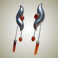 Vintage Long Dangle Carnelian Earrings