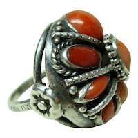 Gorgeous Large Antique Coral Ring