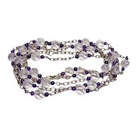 Long 63 Inch Vintage Rock Crystal and Amethyst Bead Necklace
