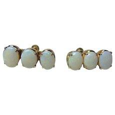 Vintage Gold 10kt Triple Opal Earrings