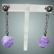 Vintage Deco Carved Chinese Lavender Jadeite Earrings