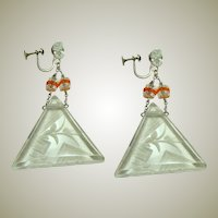 Large Art Deco Carved Rock Crystal Earrings