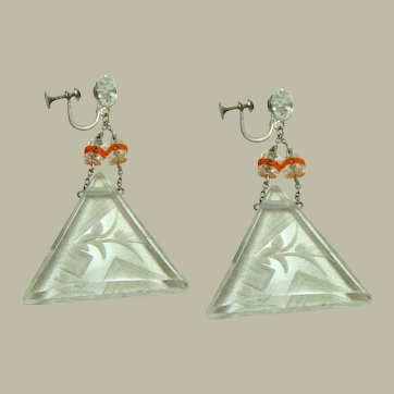 Large Art Deco Carved Rock Crystal Earrings