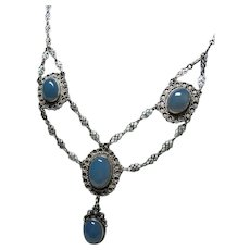 Arts and Crafts Chalcedony Festoon Necklace