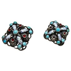 Vintage Hungarian Enamel, Turquoise, Garnet Earrings