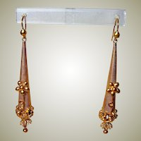 Gorgeous Antique Pinchbeck Torpedo Earrings