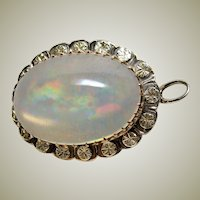 Huge Jelly Opal Pendant Brooch 14kt Gold