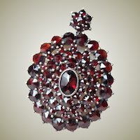 Vintage Garnet Pendant Brooch