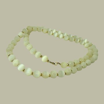 Vintage Long Unpolished Moonstone Bead Necklace
