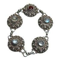 Antique Moonstone and Carnelian Bracelet