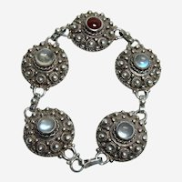 Antique Moonstone and Carnelian Bracelet