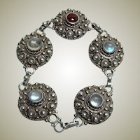 Antique Moonstone and Garnet Bracelet