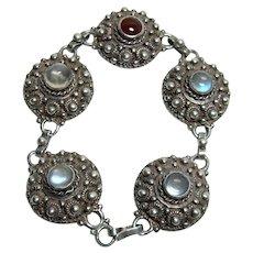 Antique Moonstone and Garnet Bracelet