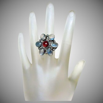 Antique Arts and Crafts Moonstone and Garnet Ring