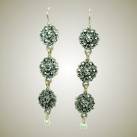Edwardian Gold and Silver Marcasite Earrings