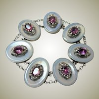 Antique Chalcedony and Amethyst Bracelet