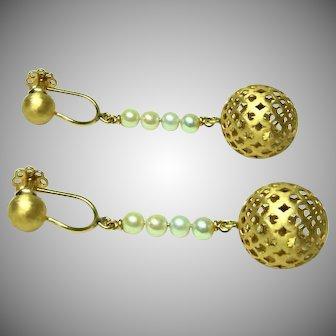 Deco 18kt Gold Gold Orb Dangle Earrings