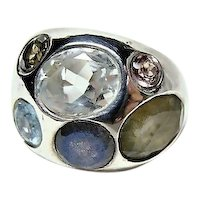 Heavy Sterling Multi Stone 1960's Mod Ring
