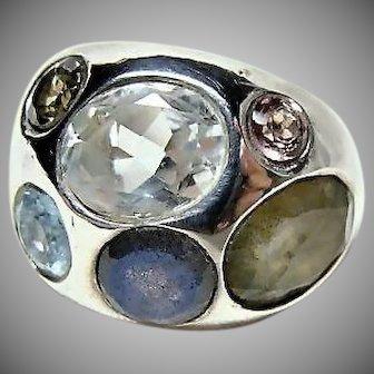 Heavy Sterling Multi Stone 1960's Mod Ring