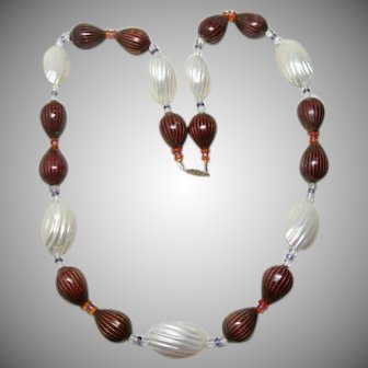 Rare Deco Chinese Enamel and MOP Bead Necklace