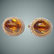 Beautiful Vintage 14kt Gold Citrine and Seed Pearl Earrings
