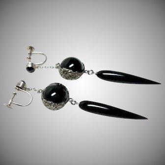 Deco Long Black Pools of Light Earrings