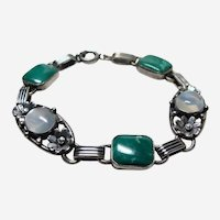 Deco Moonstone and Chyrsocolla Sterling Bracelet