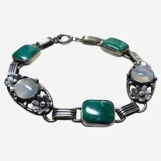 Deco Moonstone and Chyrsocolla Sterling Bracelet