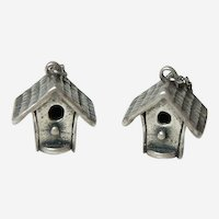 Vintage Silver Bird House Earrings