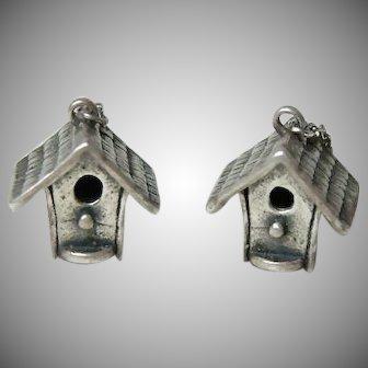 Vintage Silver Bird House Earrings