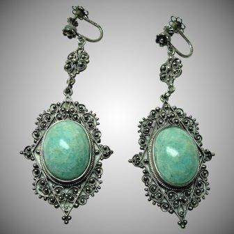 Antique Italian Silver Amazonite Earrings