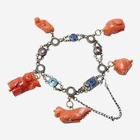 Rare Chinese Enamel Coral Charm Bracelet