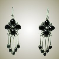 Vintage Black Onyx Dangle Earrings
