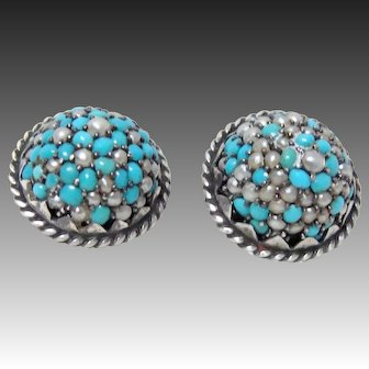 Pair Antique Victorian Pave Turquoise and Pearl Buttons