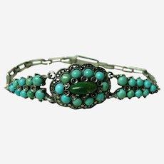 Vintage Deco Pave Turquoise Bracelet