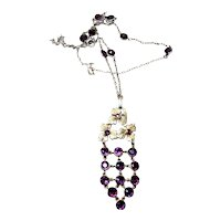 Antique Hungarian Amethyst Pendant and Chain