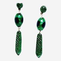 Gorgeous Vintage Peacock Eye Bead Earrings