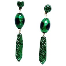 Gorgeous Vintage Peacock Eye Bead Earrings