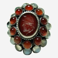 Antique Moonstone and Carnelian Ring