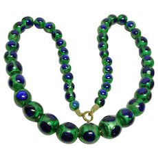 Vintage Strand Large Peacock Eye Beads Necklace